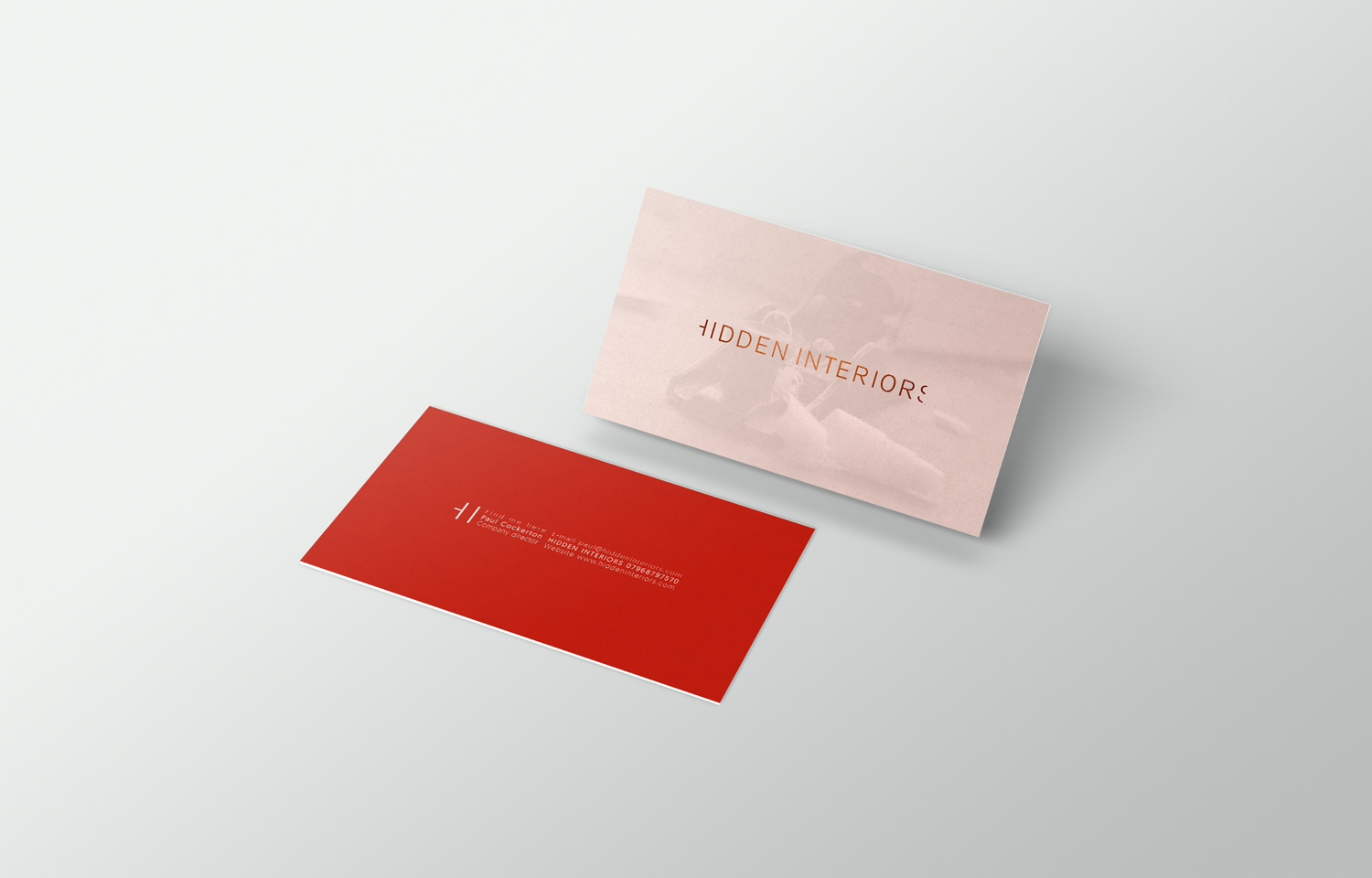 Business card design for Hidden Interiors.