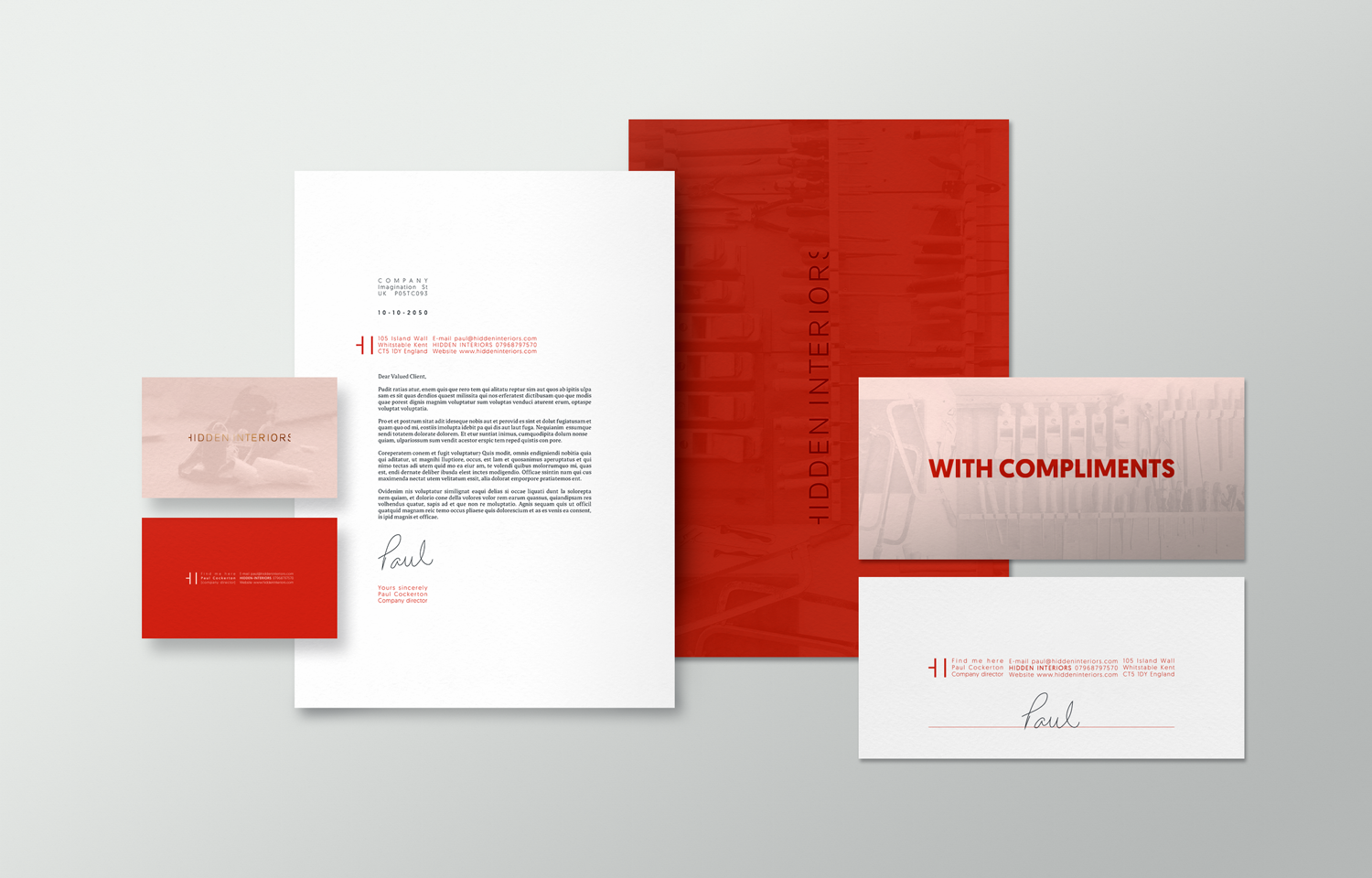 Stationery design for Hidden Interiors.
