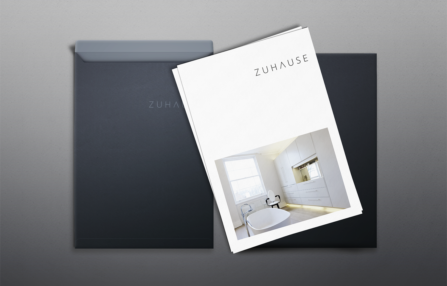 A4 marketing mail outs with branded envelope for Zuhause Architects.