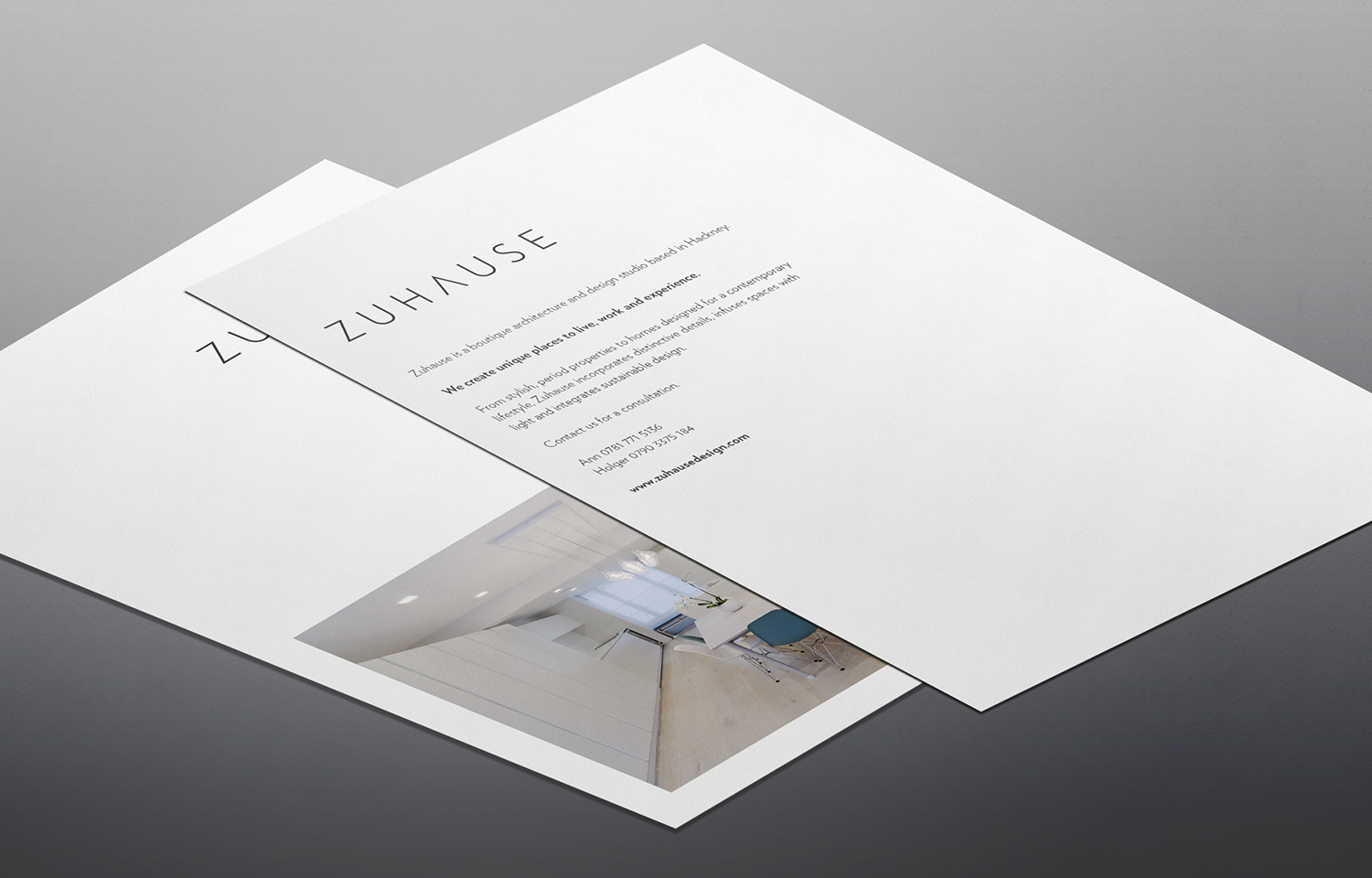 A4 marketing mail outs for Zuhause Architects: brand shot 03.