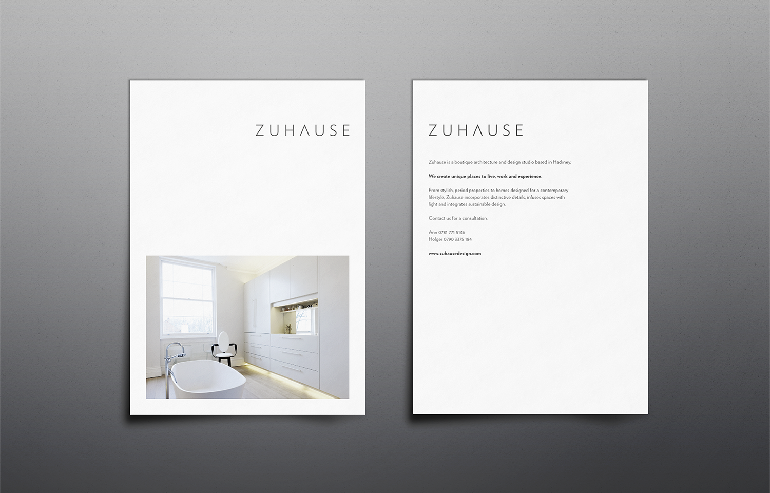 A4 marketing mail outs for Zuhause Architects: brand shot 01.