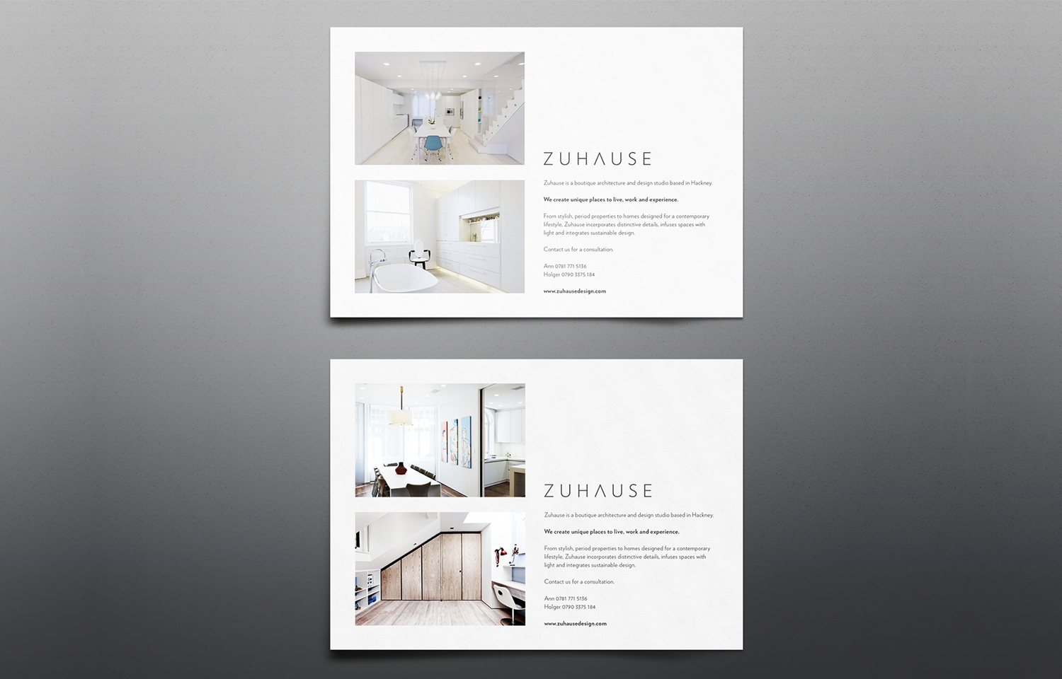 A4 marketing mail outs (landscape) for Zuhause Architects: brand shot 01.