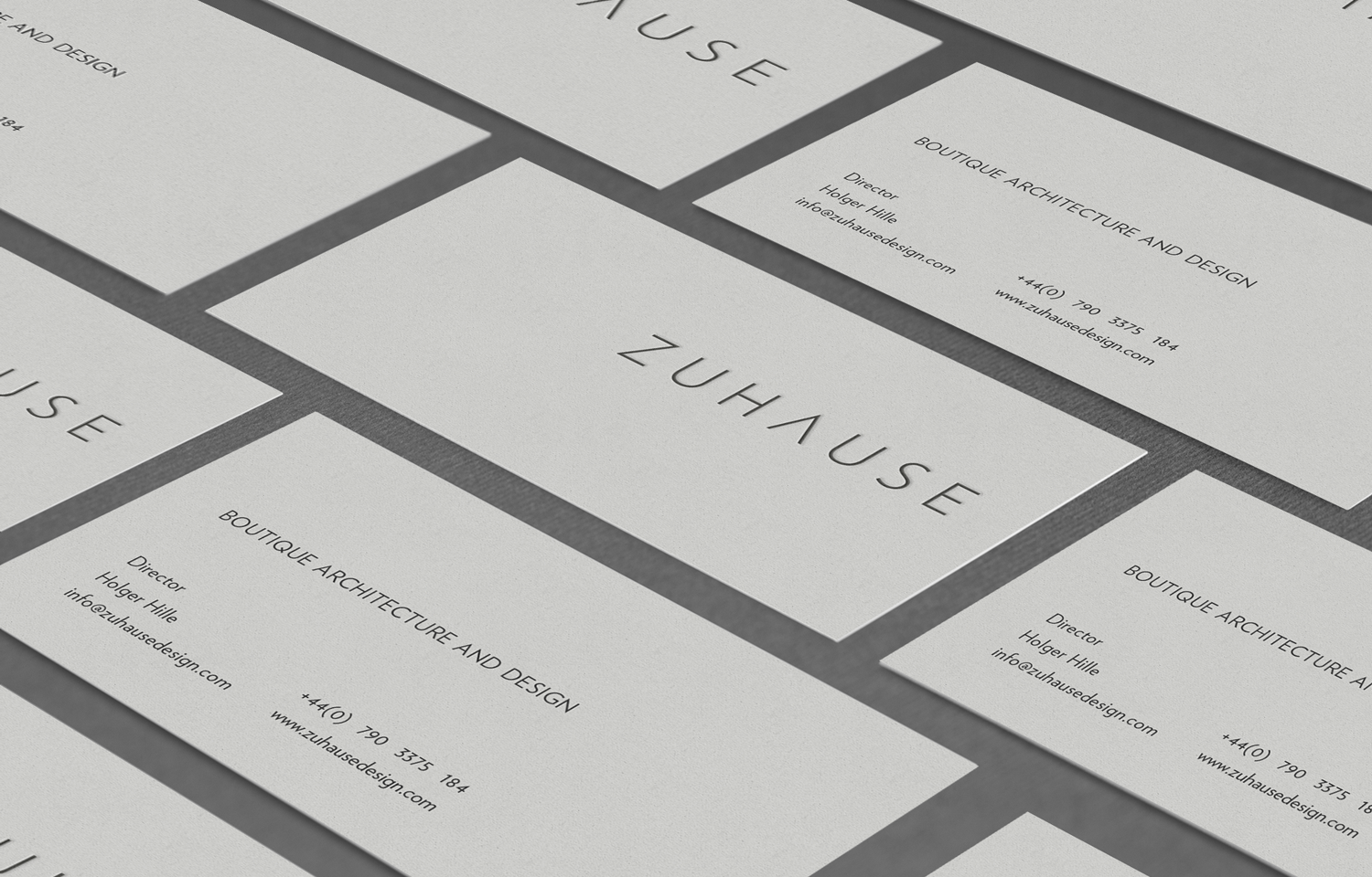 Zuhause Architects business card design and brand shot.