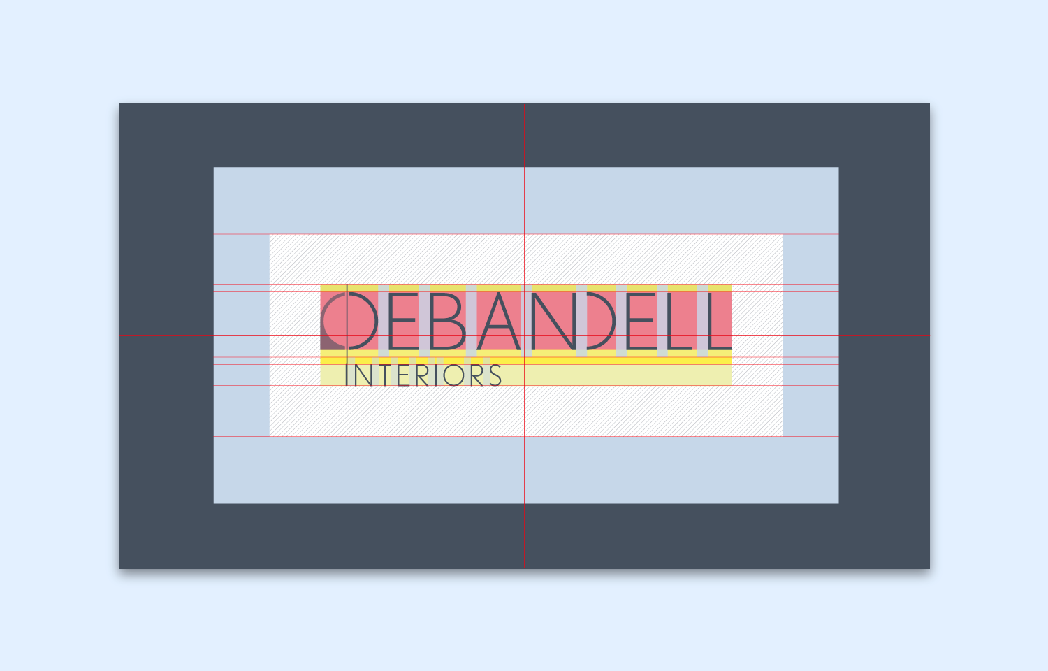 Logo design with layout guides for Debandell Interiors.