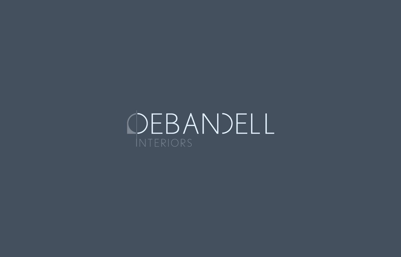 Logo design with dark brand colours applied for Debandell Interiors.