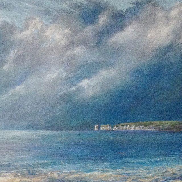 Summer Skies Dorset Coast  #cloudscape#paintedsky#originalart#cloudyskies#pastel#beautifulpaintings#summer#blue#seascapepaintings#breathe#waves