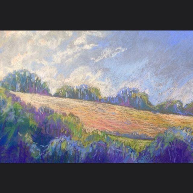 Summertime  The fields are golden and shadow blue #evening#summertime#beautifullandscapes#art studio#painting#joyful#gold