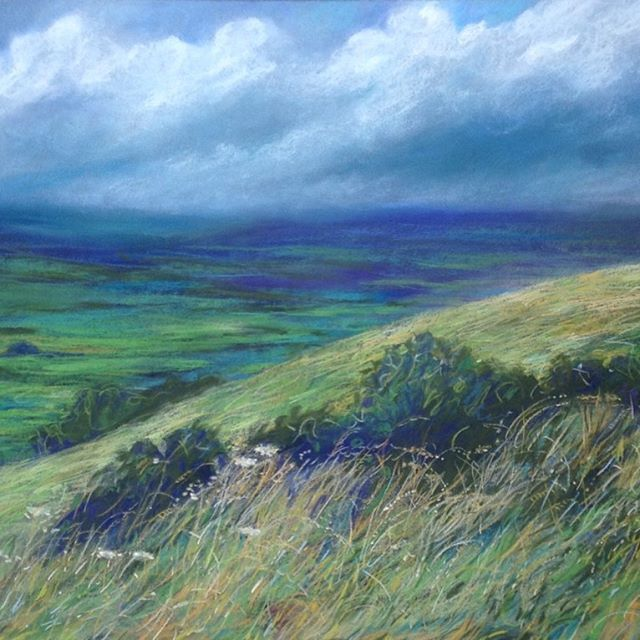 Blue Dorset Day  A fine day in High Summer.  Available as a fine art print from my website. Link in bio.  #summer#beautifulday#originalart#landscapepainting#englishlandscapepainting#clouds#art#interiordecor#summerpaintings#blue#green#meadow#grasses#wildflowers