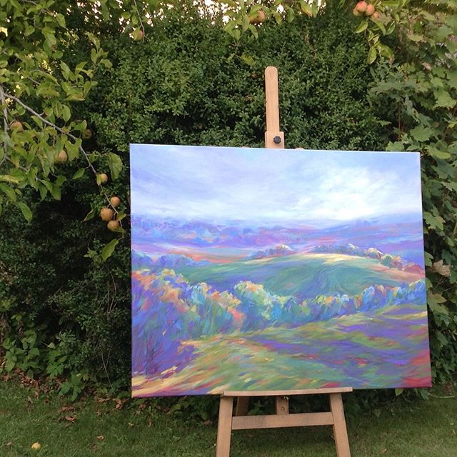 October.Exhibition in the garden.  October.40x50in.Senelier Acrylic on Canvas. JanineElizabeth.  #haze#autumn#mist#fields#paintedlandscape#blue#artinthrgarden#beautifullandscapes#originalart