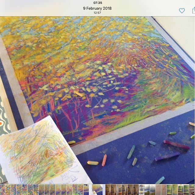 Painting the woods  #goldenwoods#leaves#path#joyfulart#walkinginthewoods#beauty#painter#studio#workinprogress