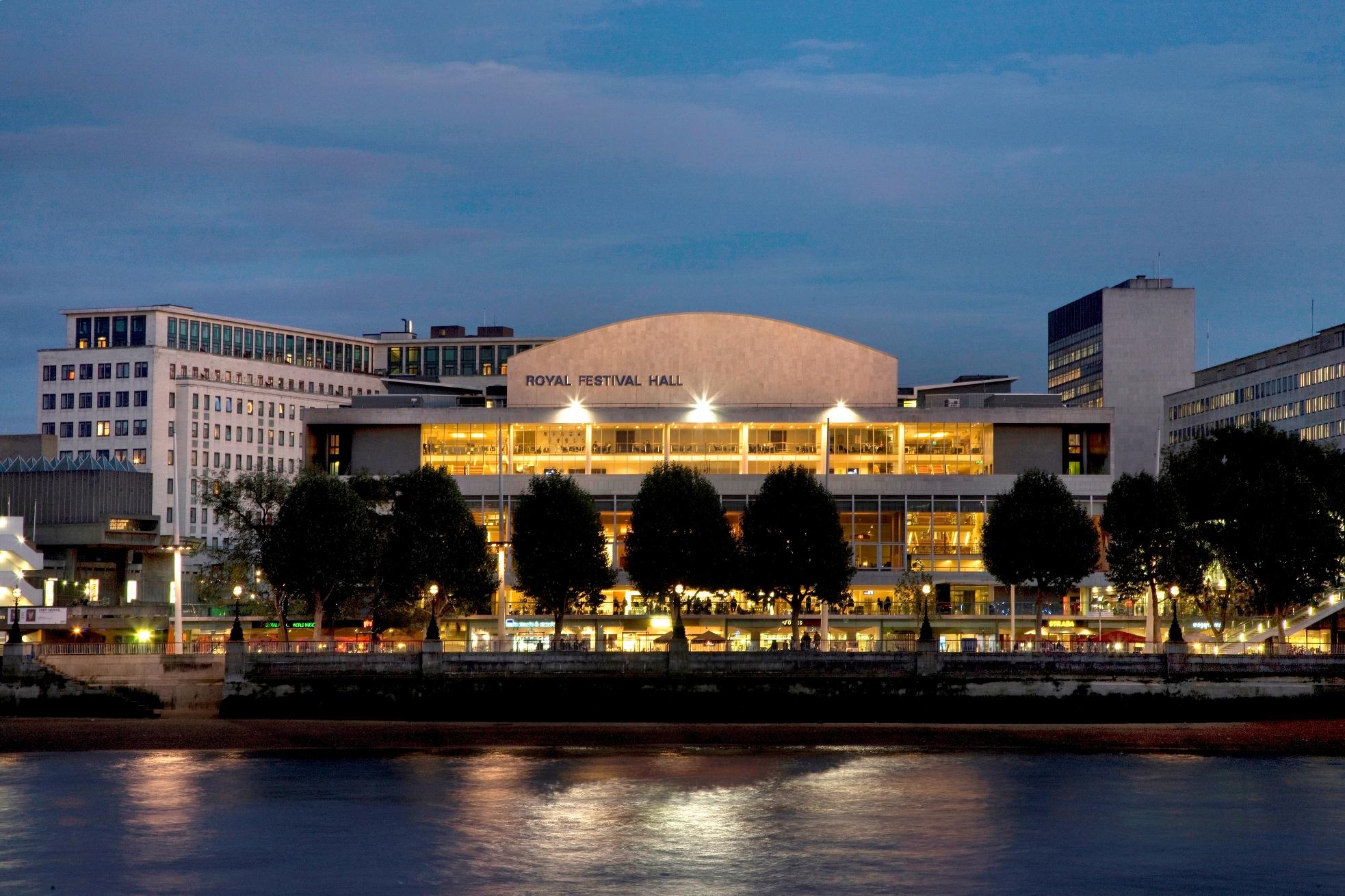 Royal Festival Hall accross Thames. Copyright Morley von Sternberg