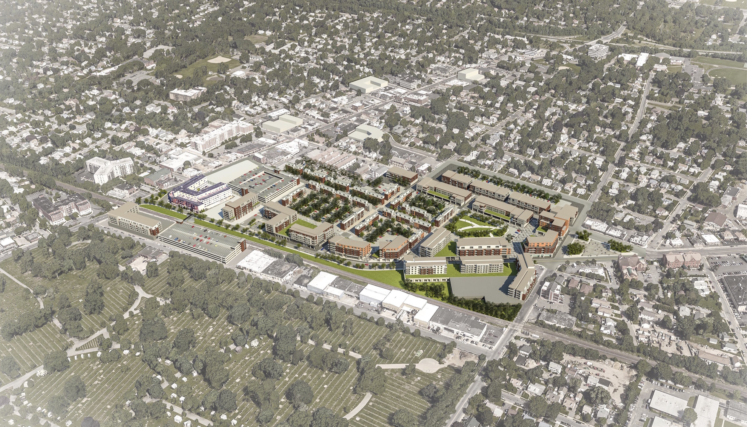 Rendering of an Example of Downtown Westbury Following the Rezoning (Rendering Created by FXFOWLE)