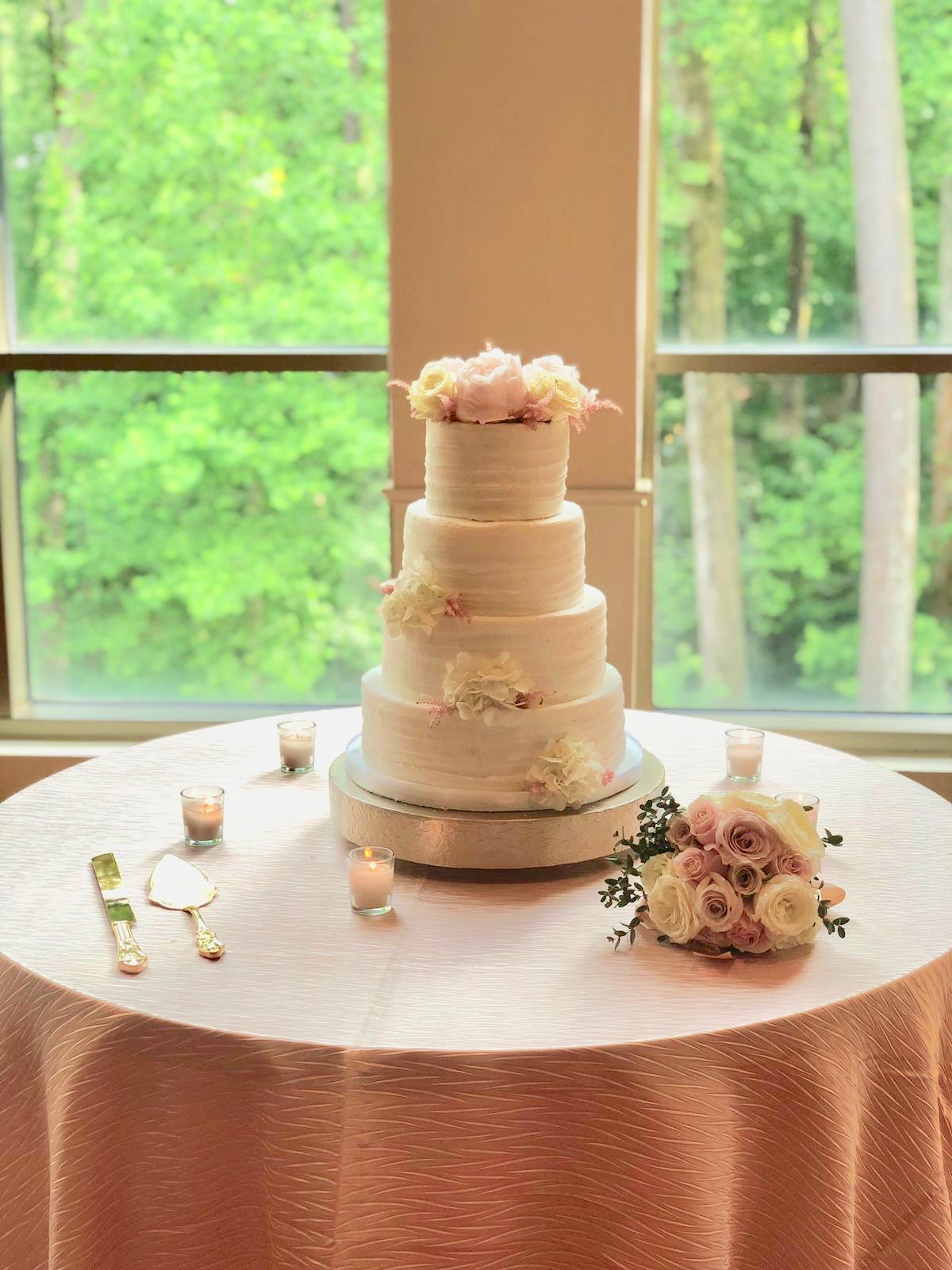 Reception Venue:  The Atlanta History Center  Cake by  Confection Perfection  Flowers by  On Occasions of Atlanta  Linens by  BBJ Linens