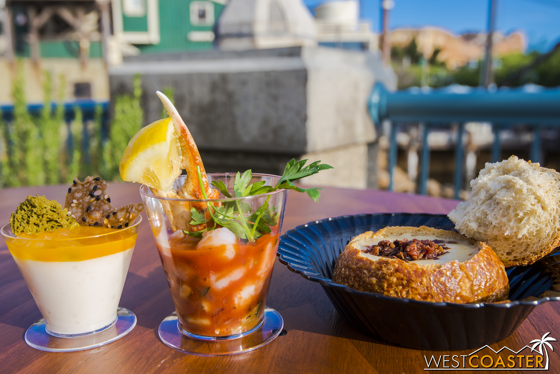 A mango lychee tapioca dessert, a shrimp and snow crab cocktail, and CHOUP!!!