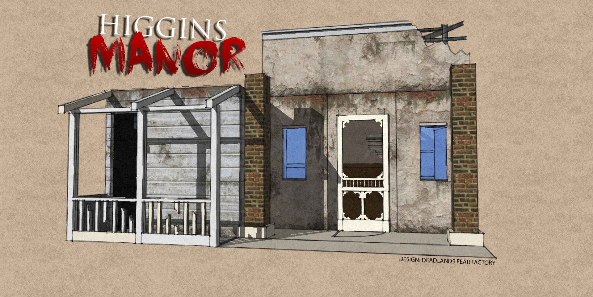 Concept art for Higgins Manor's mini-haunt at Midsummer Scream. (Image courtesy of Midsummer Scream and Deadlands Fear Factory.)