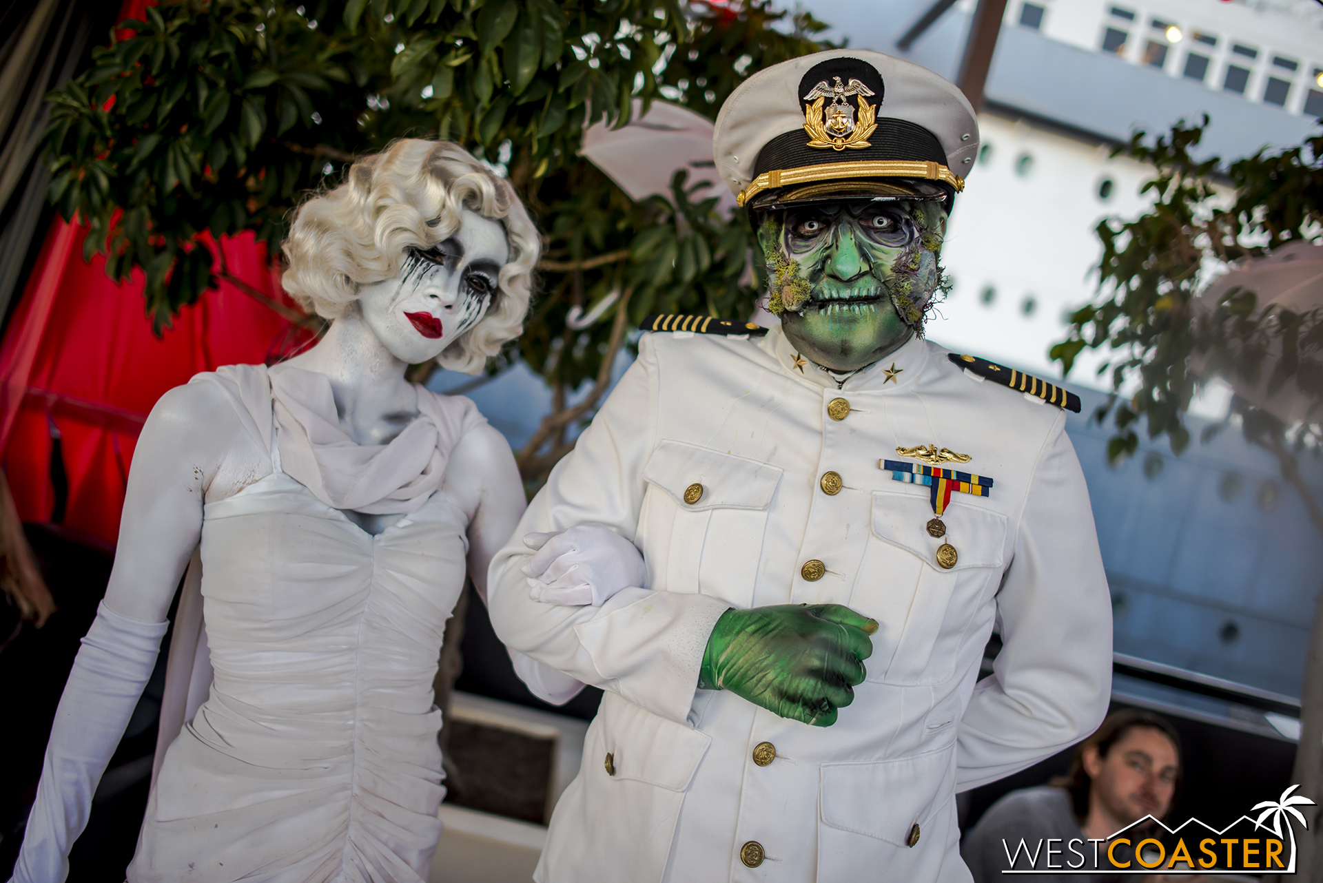 Graceful Gale and The Captain greet guests at last year's Dark Harbor opening night.