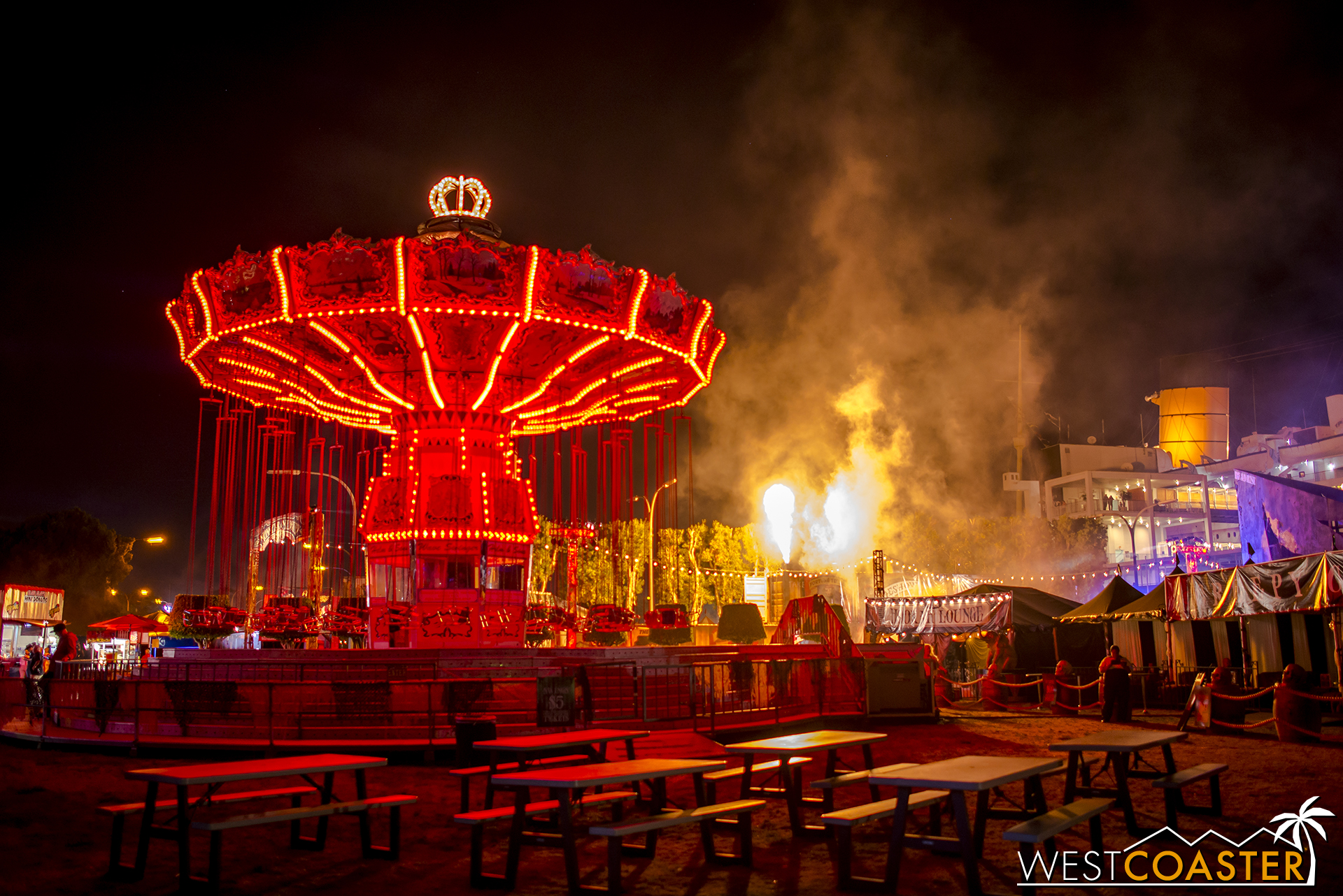 The most terrifying attraction at the event--Michael Jackson's actual Never Land Ranch swings!