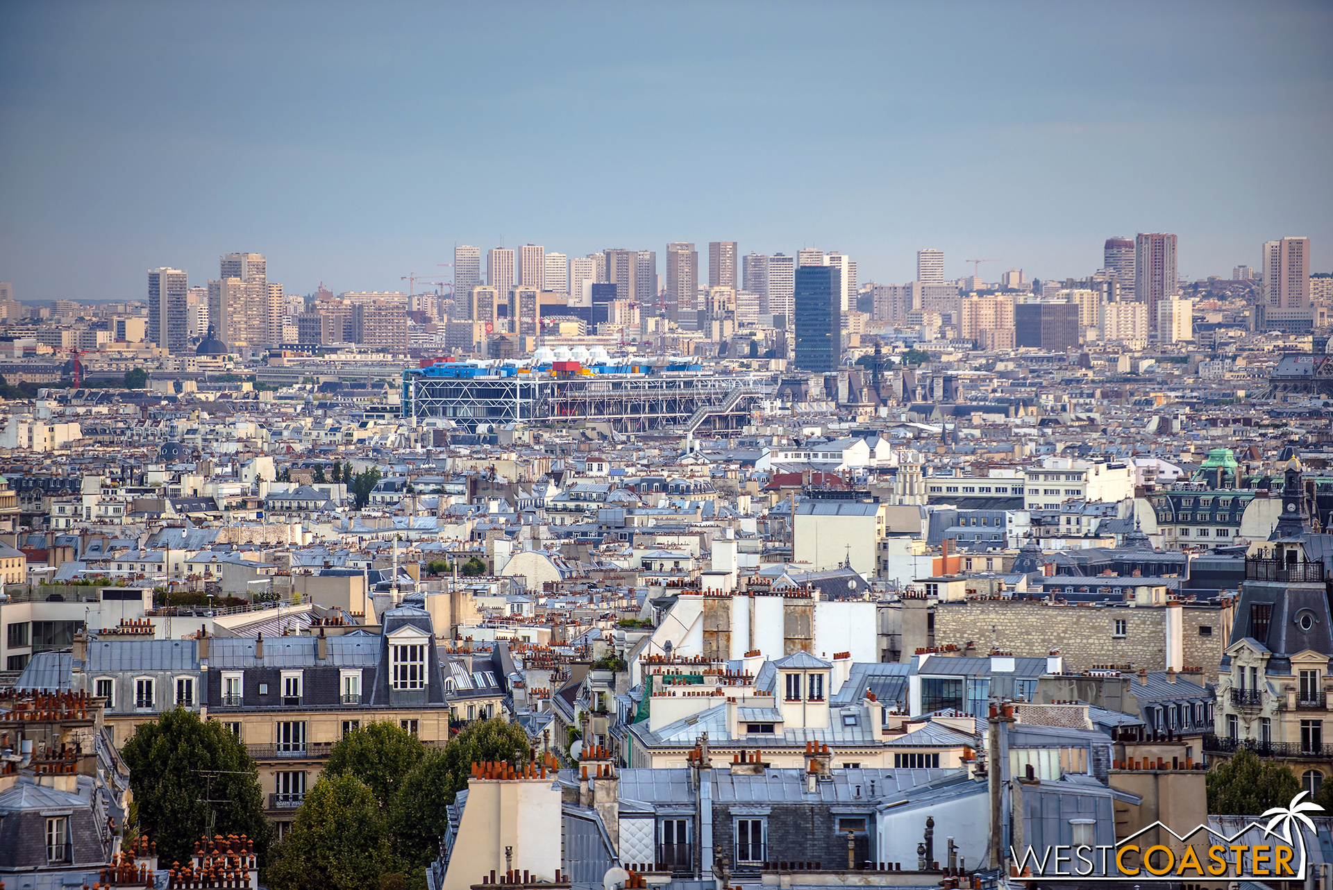 The Paris skyline as seen from Sacre Coeur cathedral.
