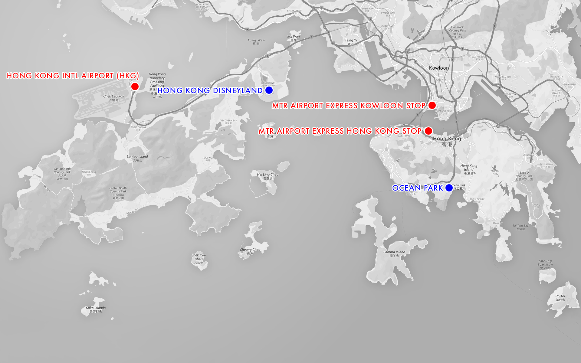 The Hong Kong International Airport and the main relevant stops of the MTR Airport Express are shown, with Hong Kong Disneyland and Ocean Park located for reference.
