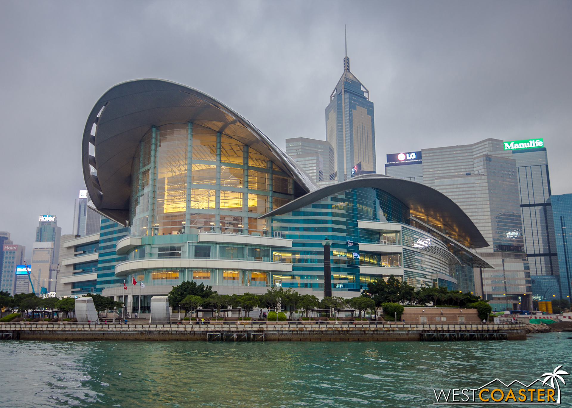 The Hong Kong Convention and Exhibition Centre seems to take flight along the Victoria Harbor.