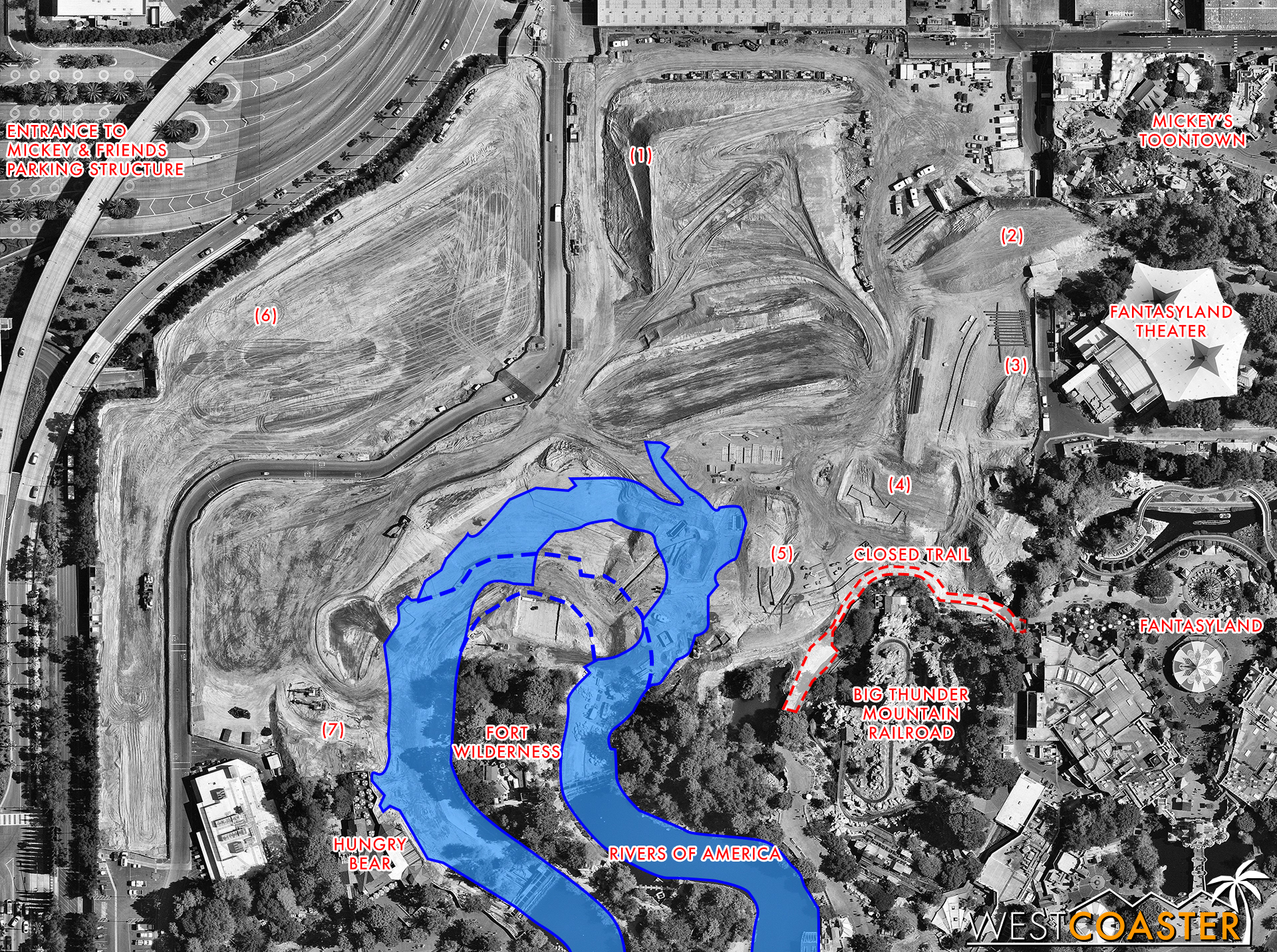 In an effort to better illustrate things, I've gone ahead and diagrammed over the Blog Mickey photo that sort of went viral last week.  The numbers will be referenced in the photos below to give an idea of what is where, and I also traced over the current Rivers of America layout and what it appears to be adjusting to based on the grading.  This is, of course, nothing official; just my own analysis.