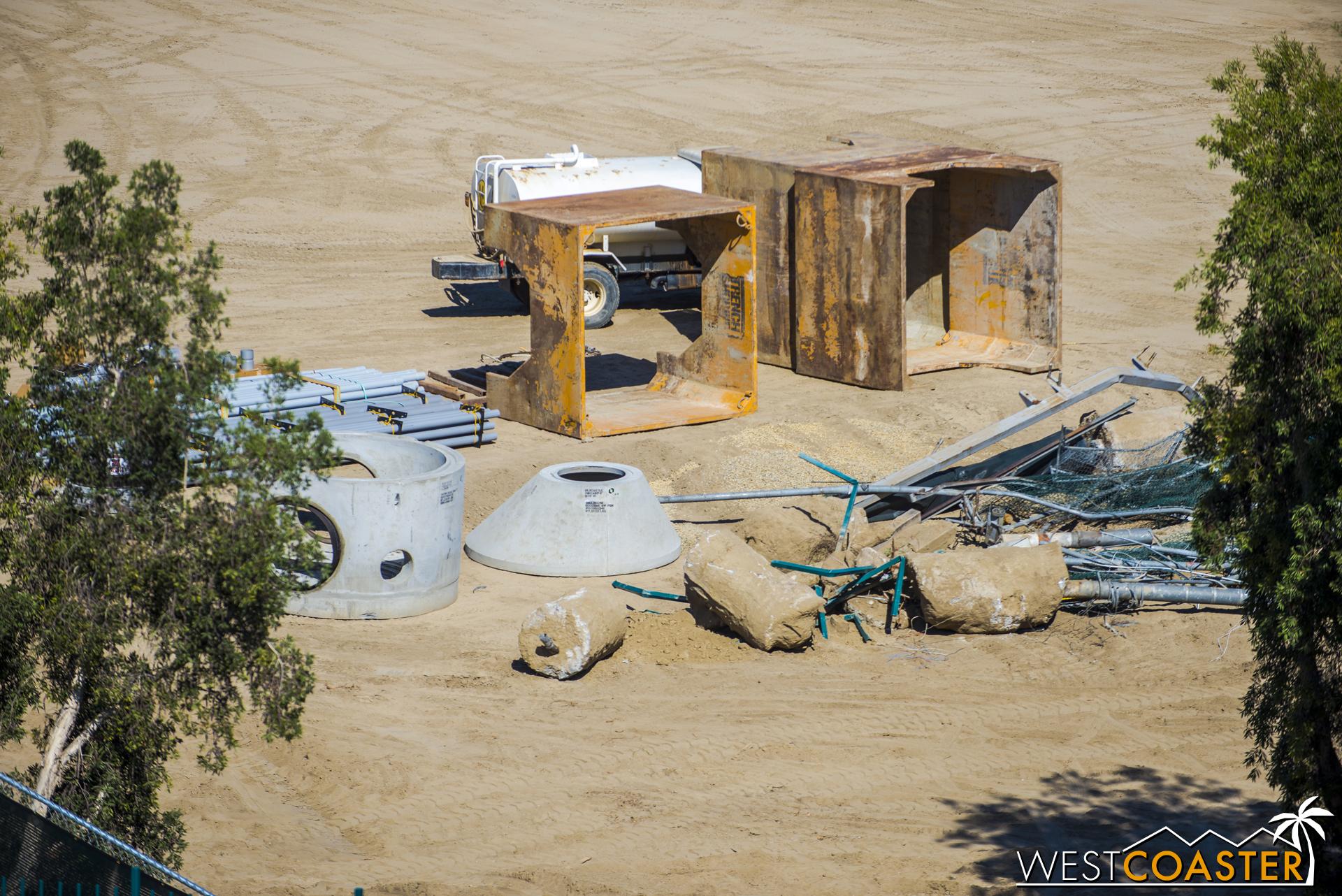 Close-up at the precast concrete wet utility assemblies.