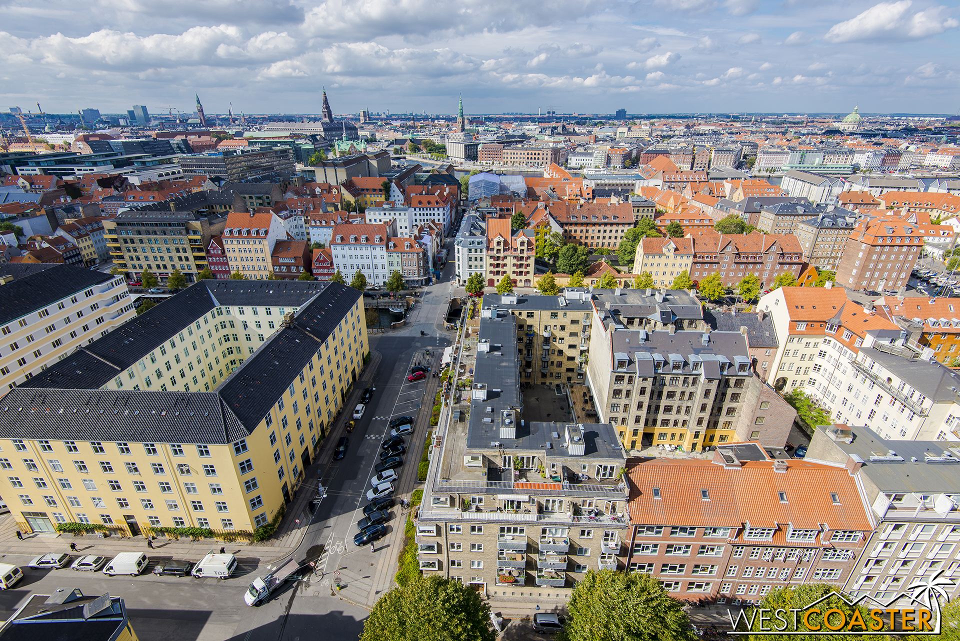 A part of the Copenhagen skyline, as viewed from the Church of Our Savior.