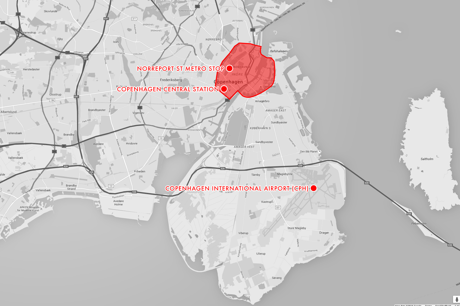 """A map highlighting Denmark's main city core (somewhat arbitrarily drawn, but diagrammatically about right), the airport (""""Lufthavnen""""), and the aforementioned train stations of note."""