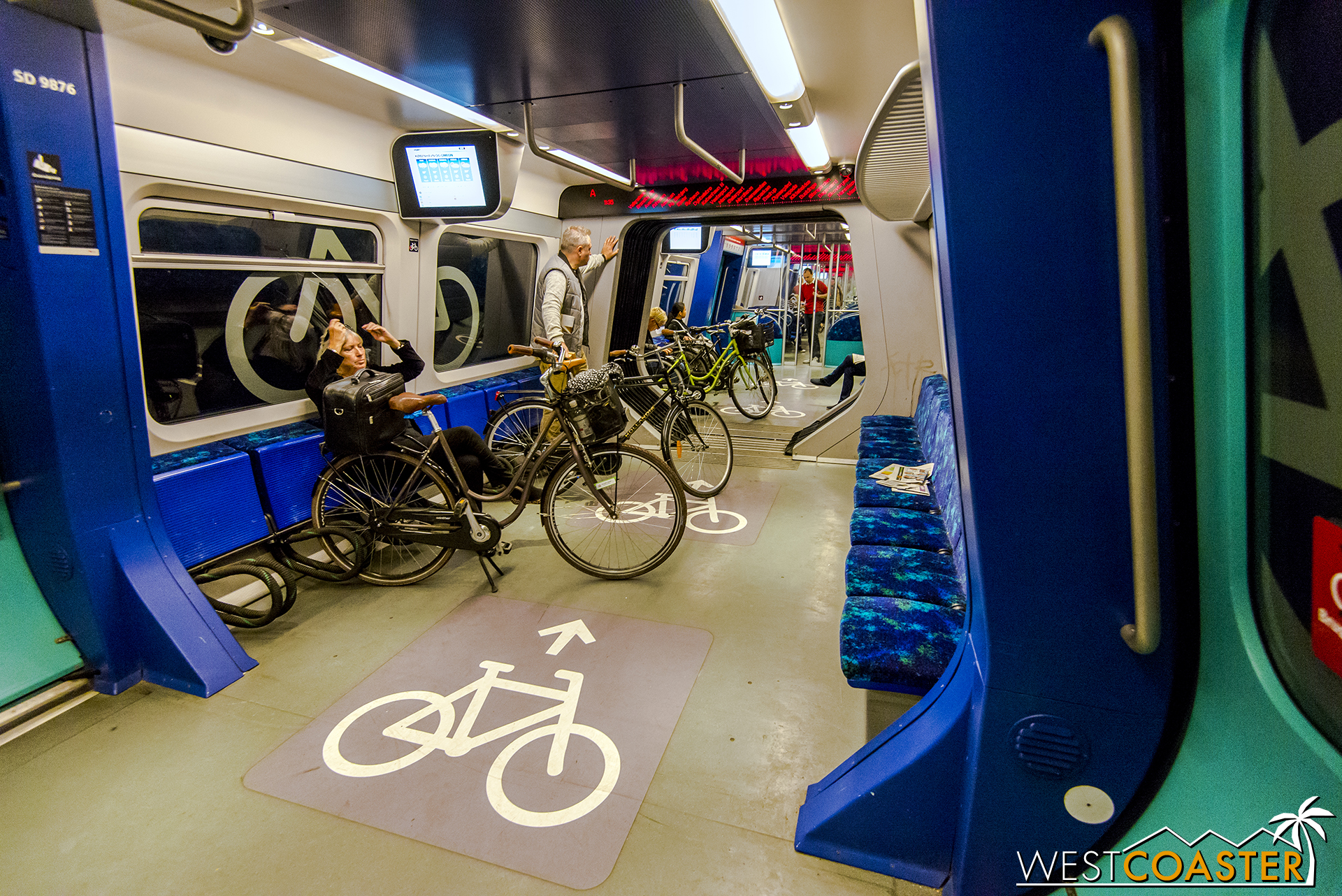 Bike friendliness integrates with public transportation in example of a bike car within one of the city's metro trains.