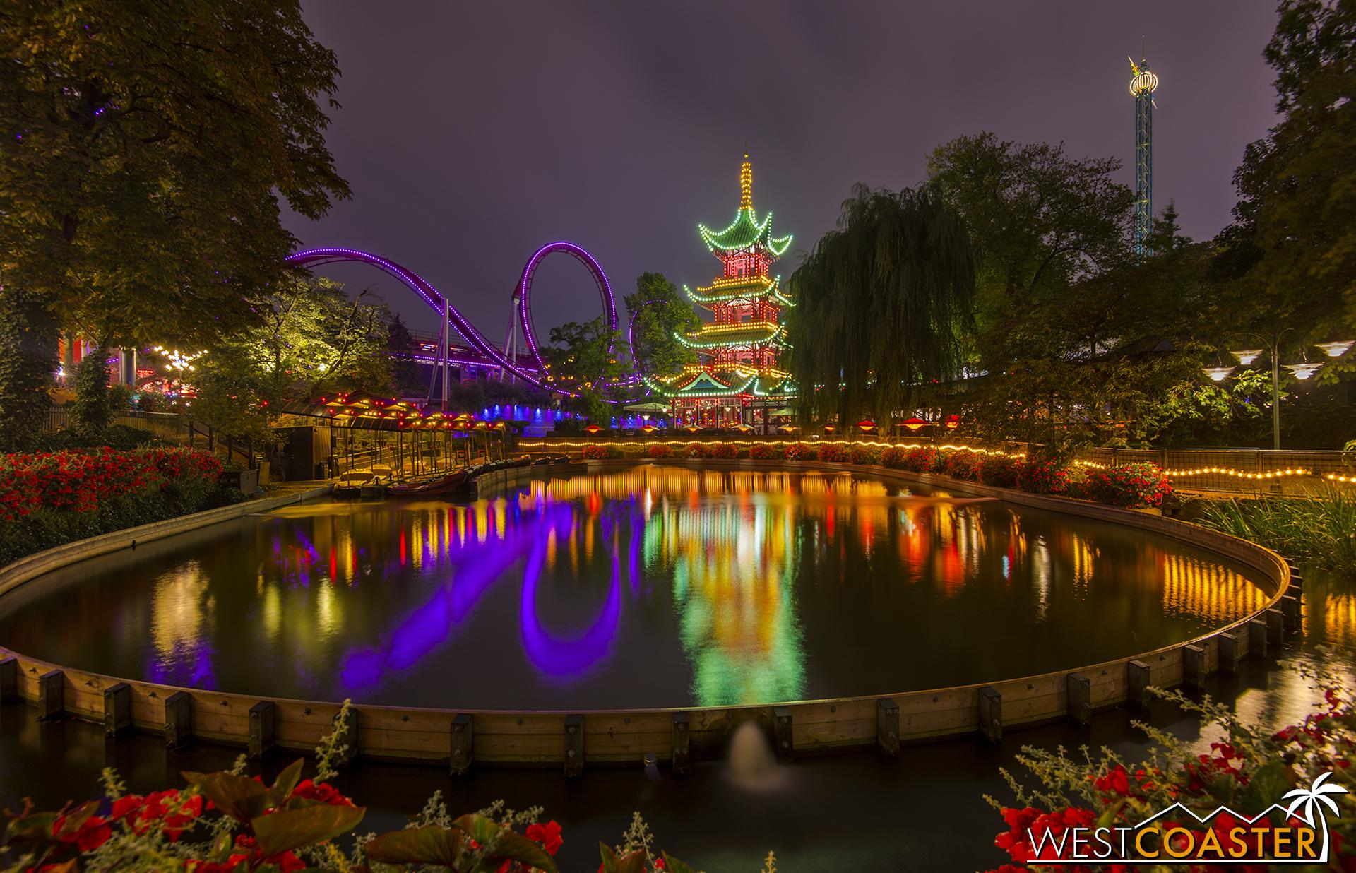 Tivoli Gardens sparkles with magic at night.