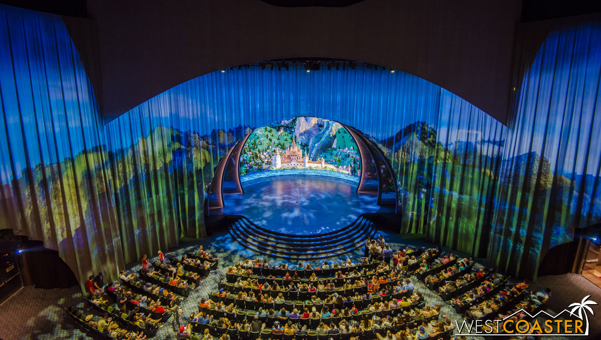 Inside, guests are greeted by a beautiful projected backdrop.