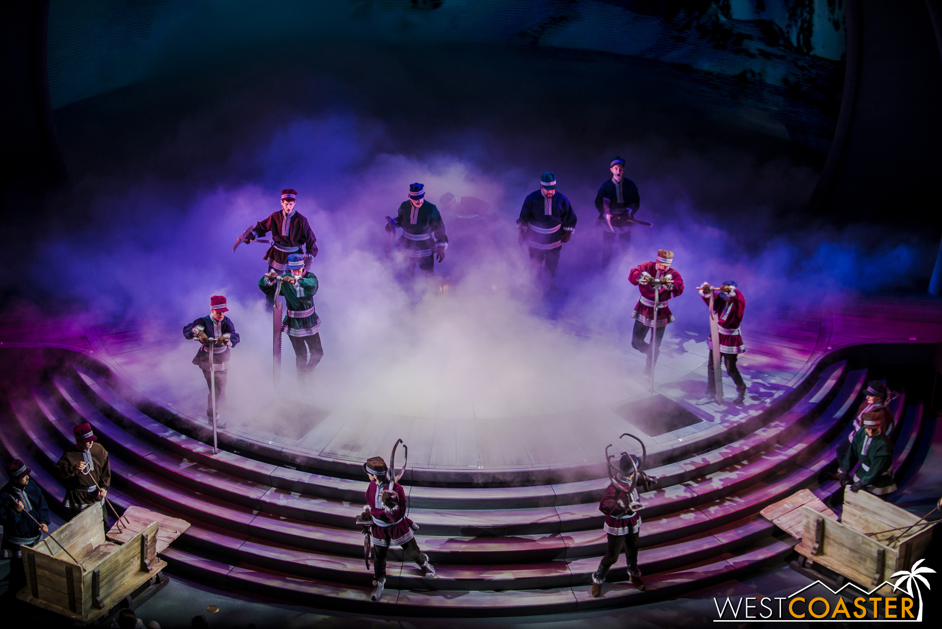 Lets dive into the show. First, the ice harvesters create smoke with the intensity of their ice cutting.
