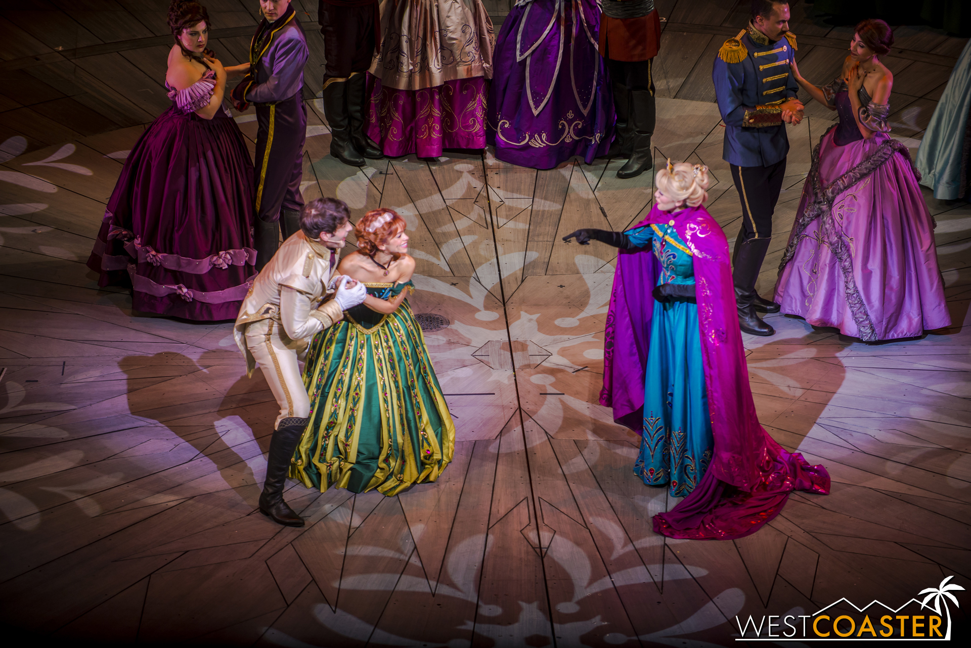 Hans and Anna call Elsa to hear of her decision.