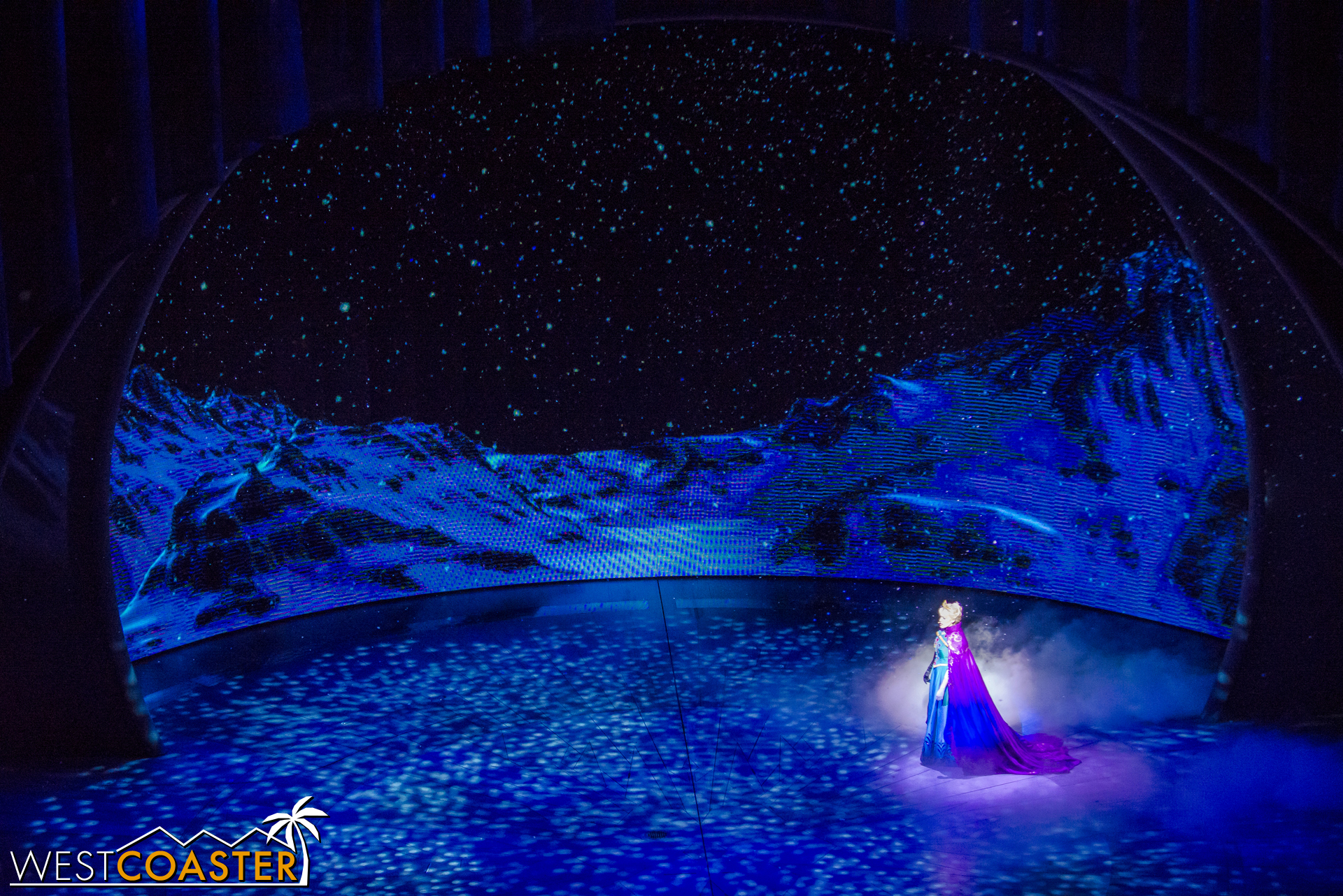 With everyone frozen, Elsa is free to have some peace and quiet.