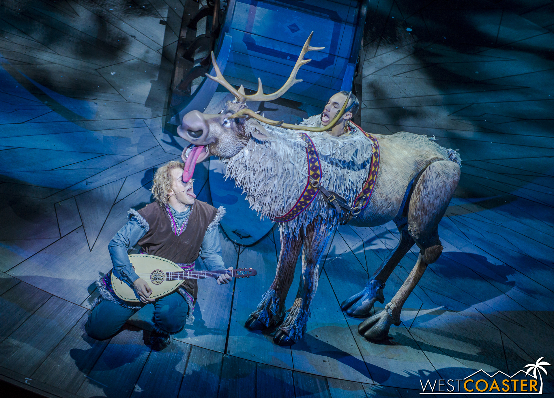 Sven uses his patented Reindeer Lick technique to wake Kristoff up.