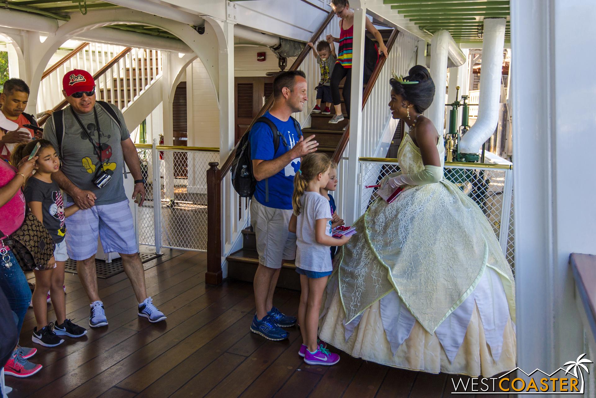Princess Tiana meets with Disneyland guests.