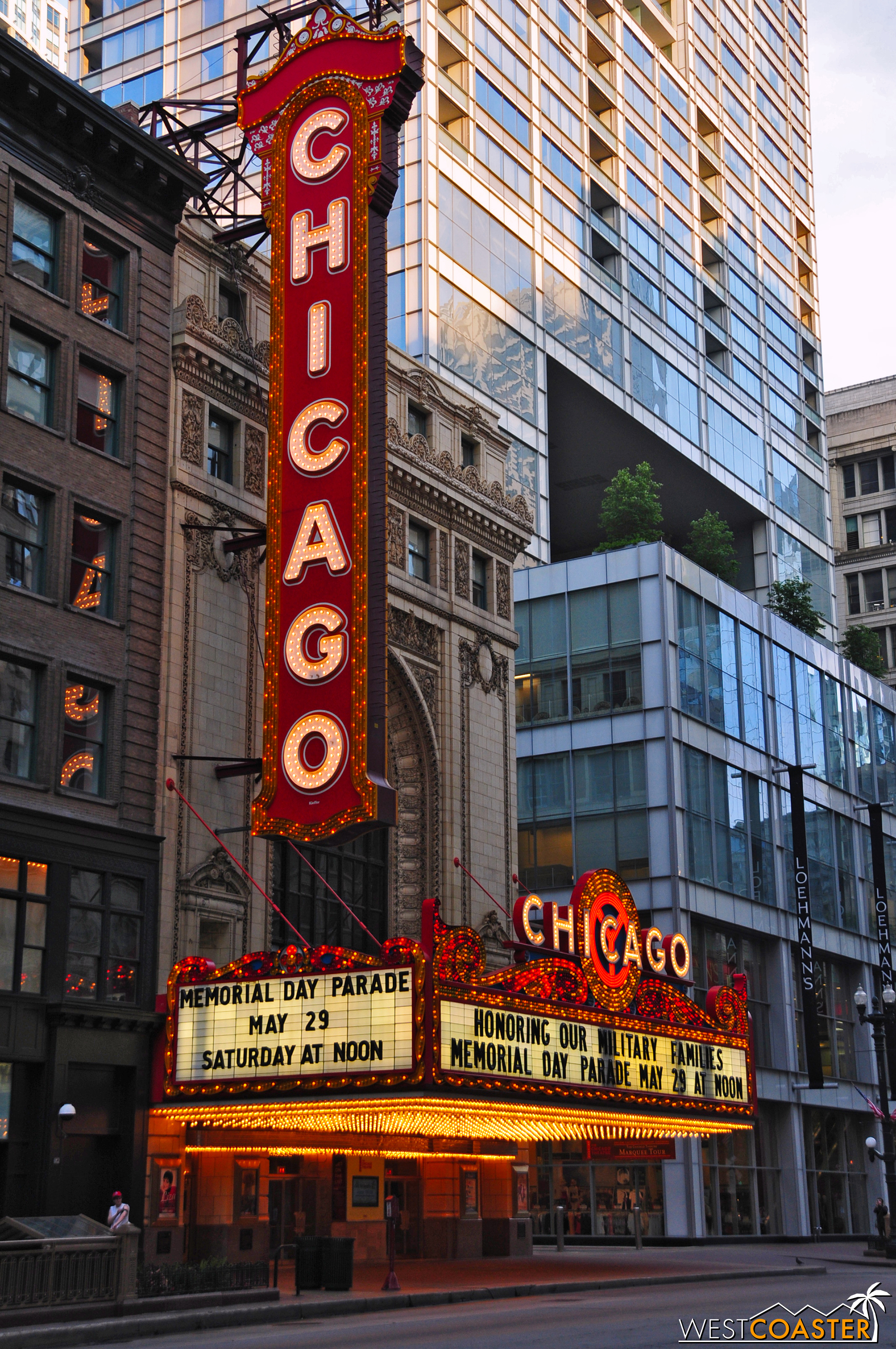 "The iconic Chicago Theater is right off an ""L"" stop."