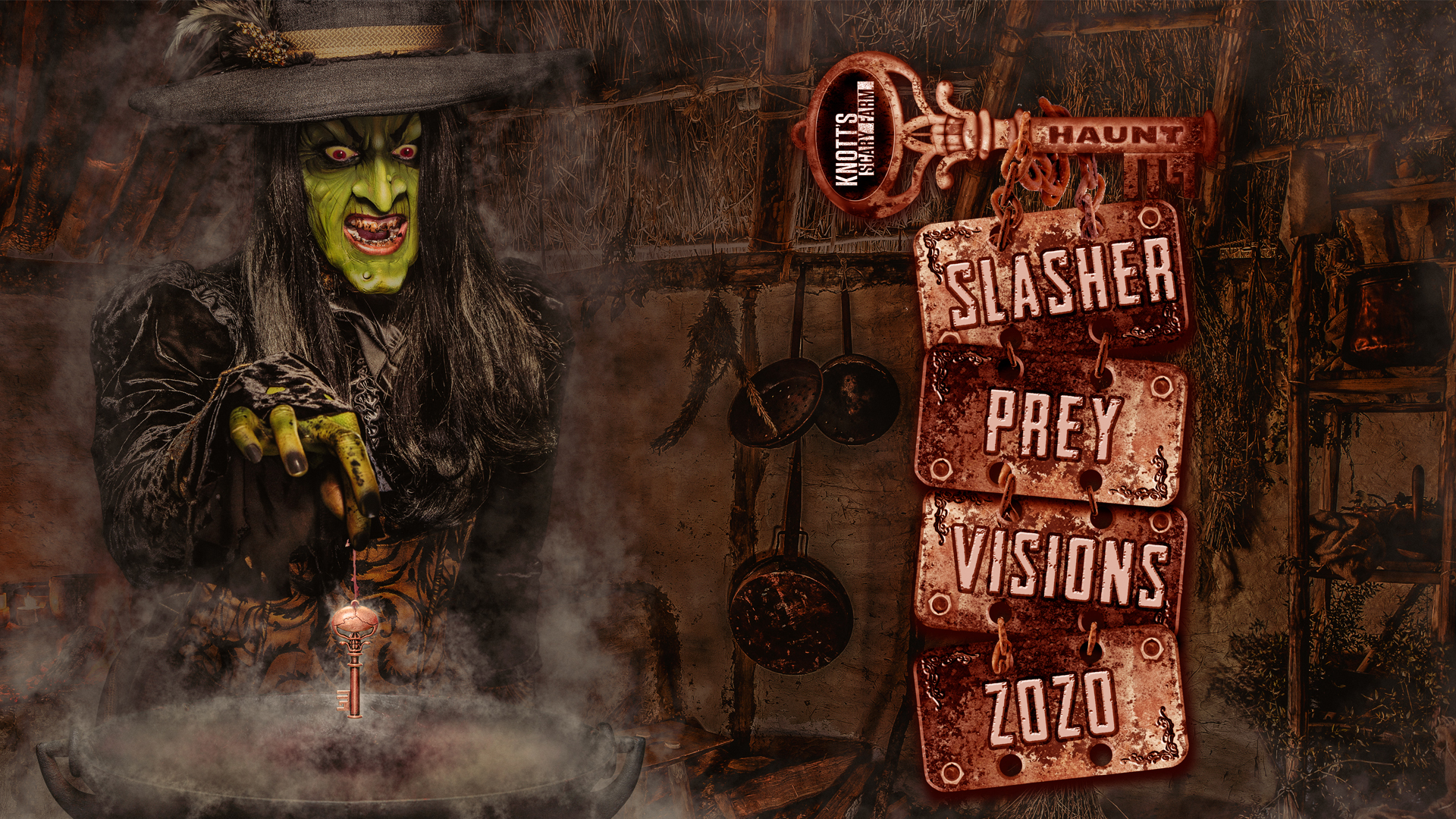 Rather than have them integrated as bonus parts of regular mazes, the Skeleton Key Rooms have been moved to their own standalone attractions, available only to Skeleton Key purchasers. (Image courtesy of Knott's Scary Farm)