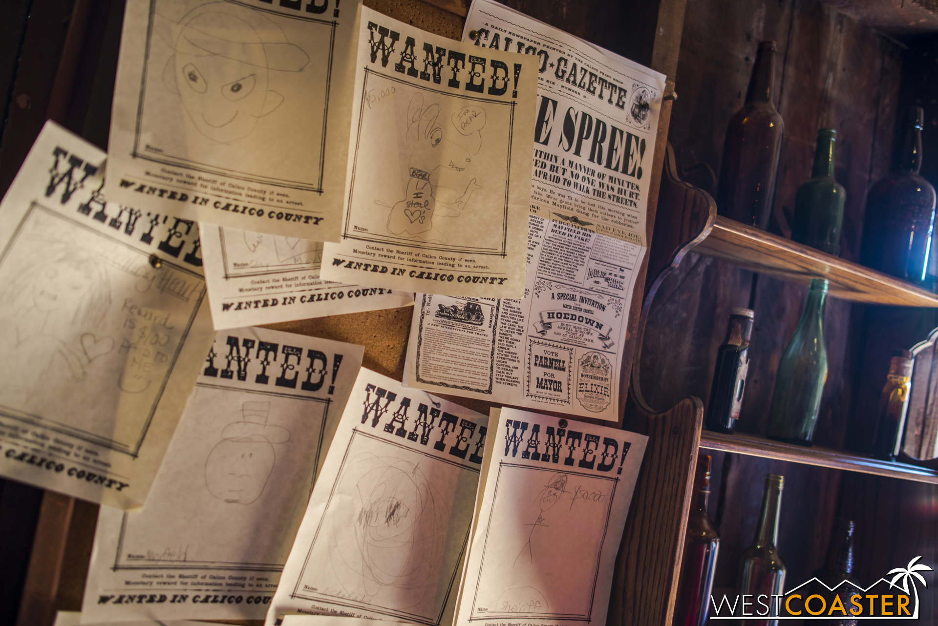 """There are plenty of wanted posters, each drawn by """"eye-witnesses,"""" i.e. the kids who participate."""