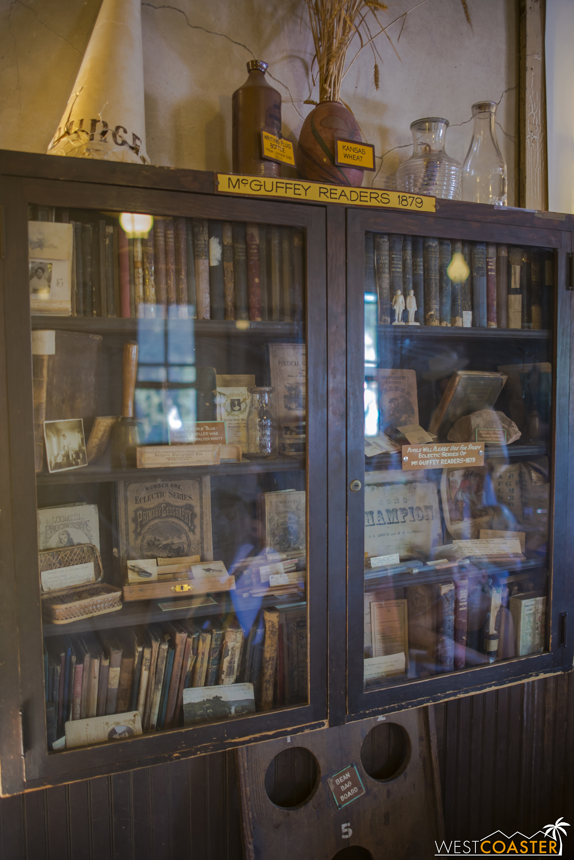 Bookcases and furnishings are period authentic.