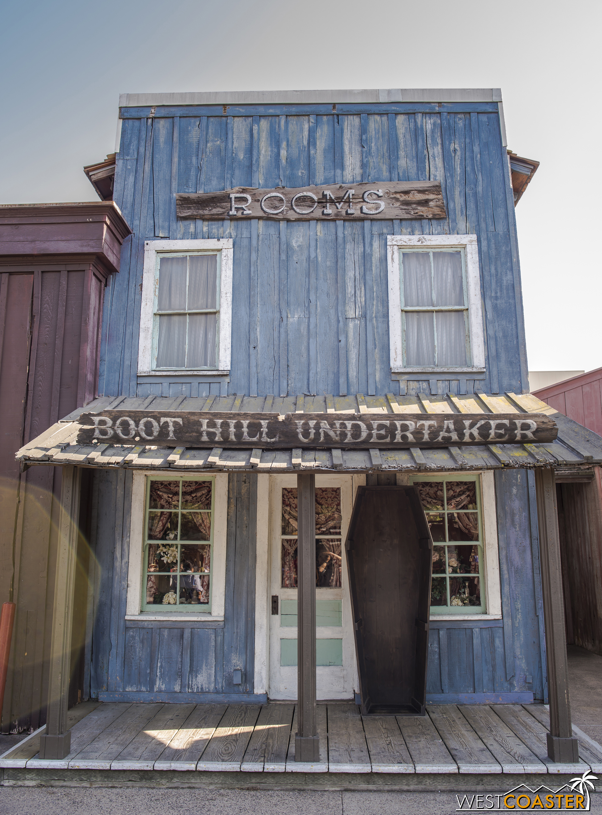 During Haunt, the Boot Hill Undertaker building has a much different feel. But during the day, it's rather welcoming!