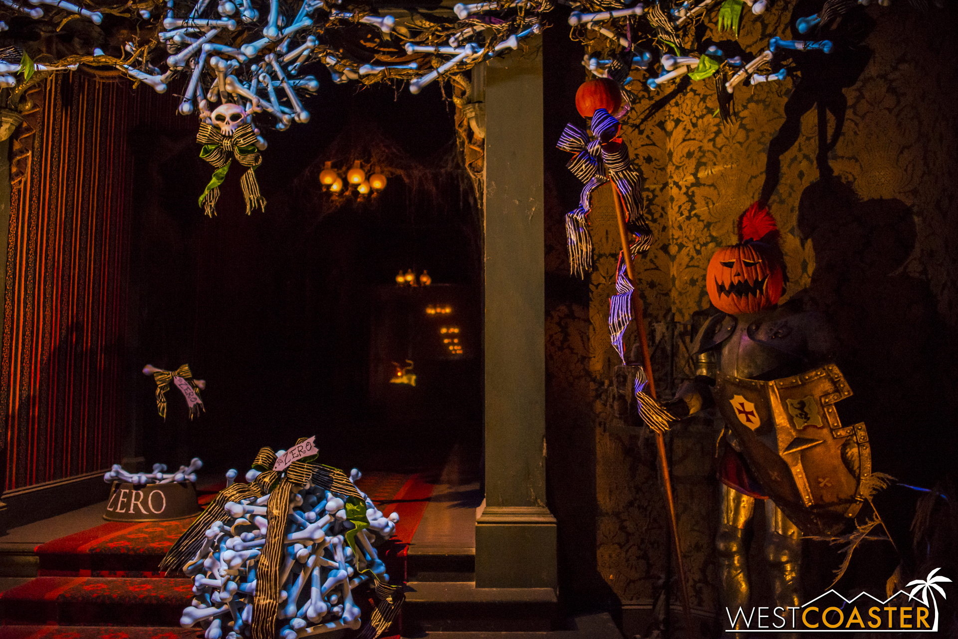 Zero, the ghost dog reindeer, lurks at the end of the Endless Hallway in Haunted Mansion Holiday.