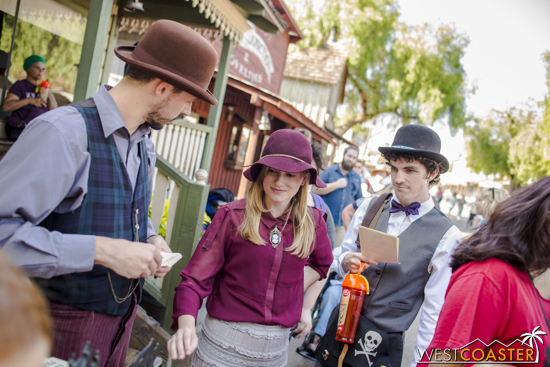 Town clerk Kenny Storm looks on as more guests cast their vote.  Ghost Town Alive! has been such a hit that many season passholders return to take part in the story repeatedly, and some even dress up to enhance the role playing.