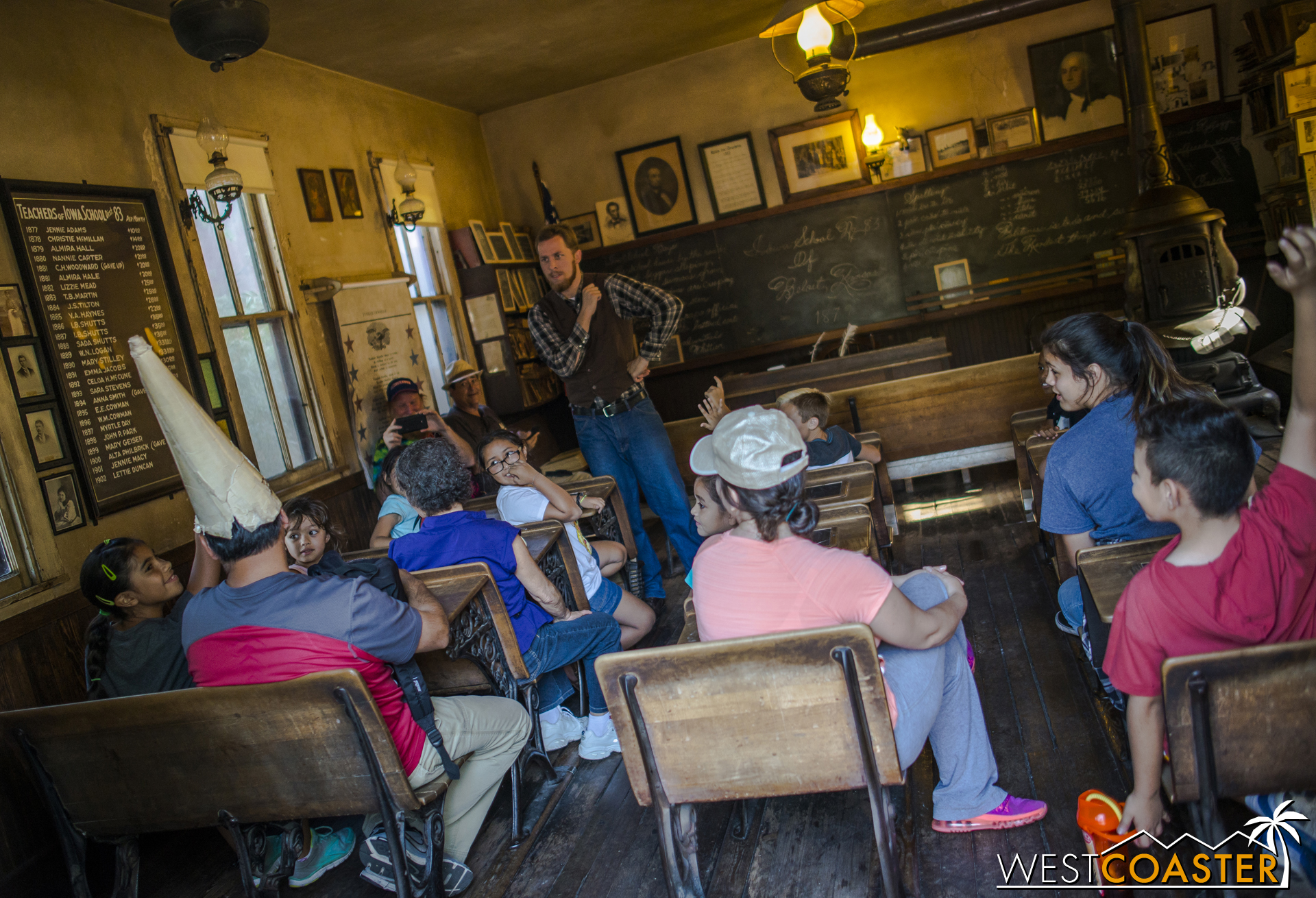 A lesson taking place inside the Schoolhouse.