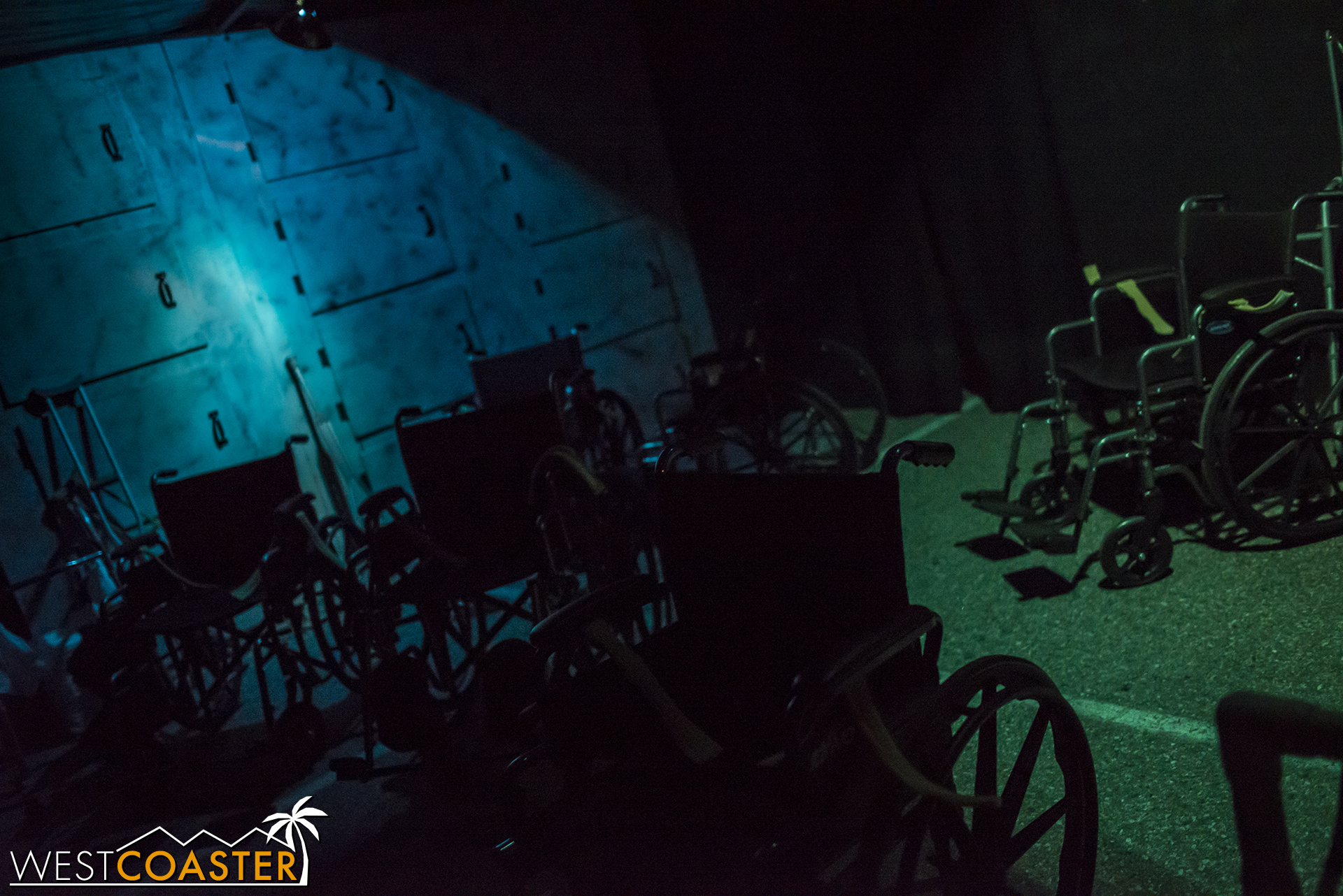 After crawling through a tunnel, we came into a morgue littered with wheelchairs.