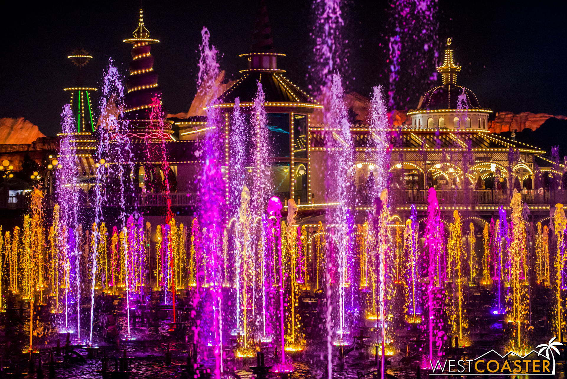 I love the playful spray and hues of the fountains.