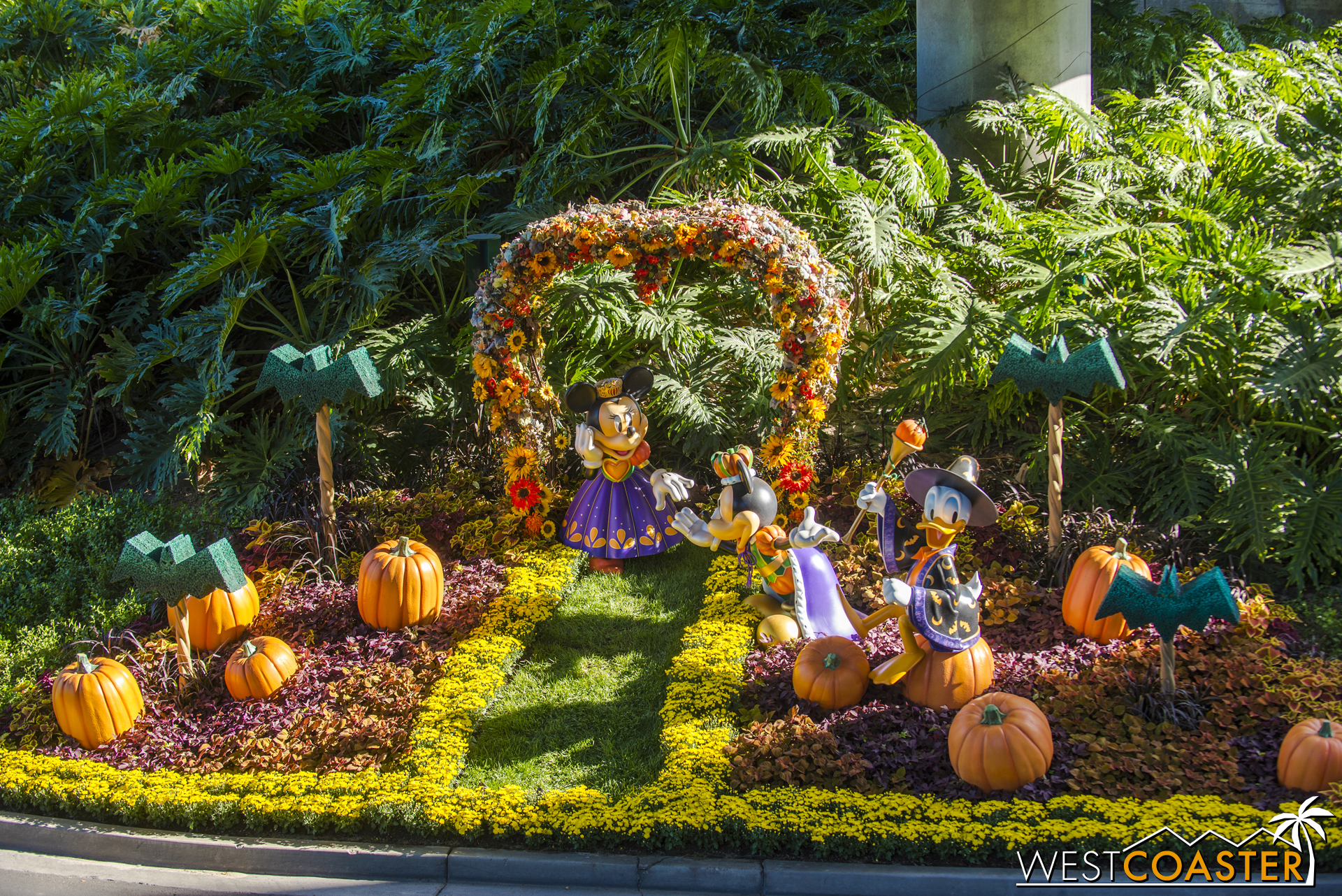 A Halloween display along the Mickey and Friends parking tram route.