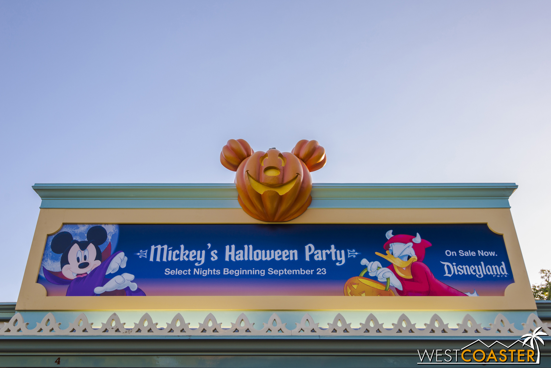 On the other side of the gates, advertisements of Mickey's Halloween Party are up. They are typically Mondays, Wednesdays, and Fridays this year.