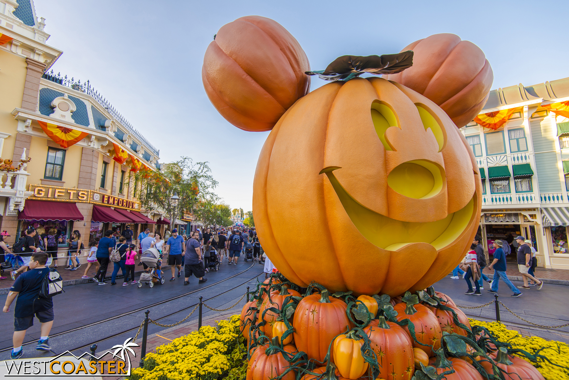 The giant Mickey pumpkin is once again at the head of Town Square.