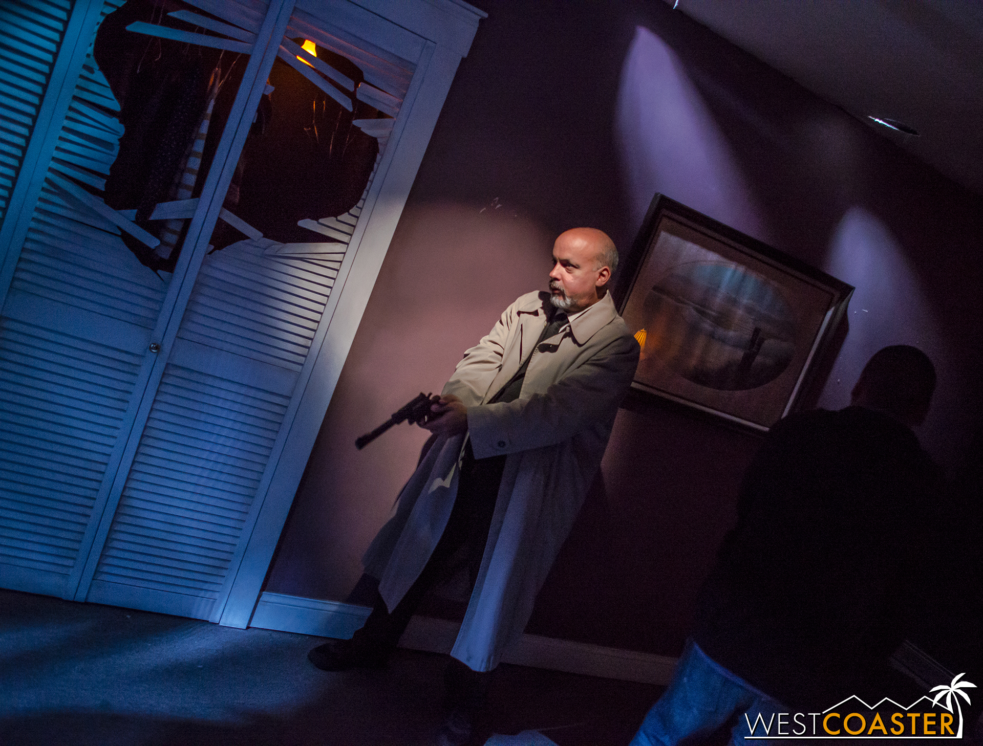 After going through the living room, we come upon Dr. Sam Loomis confronting Michael Myers.